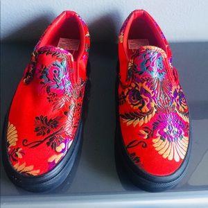 3278862c65d075 Vans Shoes - Red Vans Slip On w  Festival Satin Print
